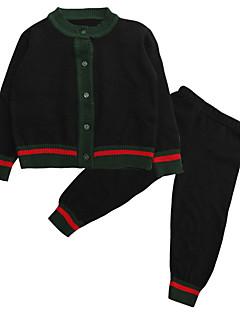 billige Tøjsæt til drenge-Drenge Tøjsæt Daglig Farveblok, Polyester Forår Langærmet Simple Sort