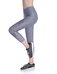 billiga Träning-, jogging- och yogakläder-Dam Yoga byxor sporter Färgat garn Elastan 3/4 Strumpbyxor Sportkläder Tränare, Yoga, Snabb tork Hög Elasisitet