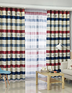 Blackout Curtains Drapes Bedroom Stripe Graphic Prints Polyester Blend  Printed