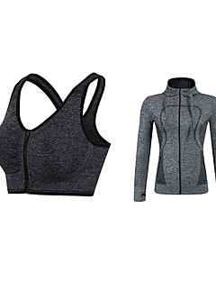 billige Løbetøj-Dame Aktiv beklædning sæt Langærmet Åndbarhed SportsBH'er / Hattetrøje for Jogging / Fitness Polyester Grøn / Blå / Grå S / M / L
