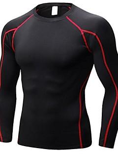 billiga Träning-, jogging- och yogakläder-Herr Rund hals T-shirt för jogging - Svart / röd, Svart / grön, Svart+Silver sporter T-shirt / Collegetröja Långärmad Sportkläder
