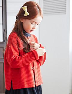 billige Sweaters og cardigans til piger-Pige Trøje og cardigan Daglig Ferie Ensfarvet, Bomuld Forår Sommer Langærmet Simple Aktiv Blå Rød Gul Rosa Lysegrå