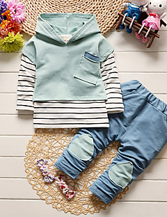 billige Tøjsæt til drenge-Drenge Tøjsæt Daglig Skole Ensfarvet Stribet Patchwork, Bomuld Forår Efterår Langærmet Simple Grå Lyseblå
