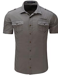 voordelige Opruiming-EU-Heren Street chic Print Overhemd Katoen Effen / Korte mouw