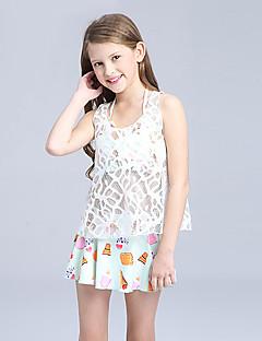 billige Badetøj til piger-Pige Sødt Aktiv Trykt mønster Badetøj, Nylon Uden ærmer Hvid Lyserød