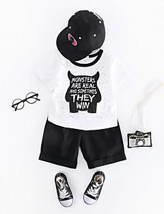 billige Tøjsæt til drenge-Drenge Tøjsæt Daglig Trykt mønster, Bomuld Sommer Kortærmet Vintage Hvid