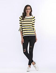 baratos Suéteres de Mulher-Mulheres Feriado Algodão Pulôver - Estampa Colorida Algodão