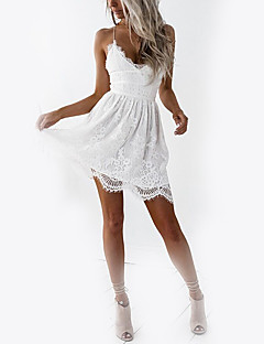 cheap Women's Dresses-Women's Club Holiday Basic Slim A Line Dress - Solid Colored White, Lace High Waist Mini V Neck Strap