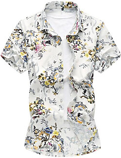 cheap Men's Shirts-Men's Going out Street chic Spring Summer Shirt, Floral Shirt Collar Short Sleeves Polyester