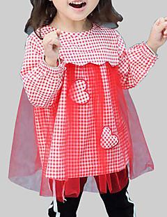 billige Pigekjoler-Pigens Kjole Daglig I-byen-tøj Ternet Patchwork, Rayon Polyester Forår Efterår Langærmet Afslappet Gade Sort Rød Gul