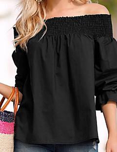 baratos Blusas Femininas-Mulheres Camisa Social Frufru, Sólido Ombro a Ombro