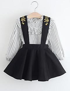 billige Tøjsæt til piger-Pige Tøjsæt Daglig I-byen-tøj Stribet, Rayon Forår Efterår Langærmet Afslappet Gade Sort