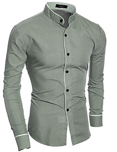 cheap Office Outfits-Men's Cotton Slim Shirt - Solid Colored Basic Standing Collar / Long Sleeve