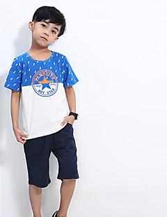 billige Overdele til drenge-Drenge T-shirt Daglig Trykt mønster, Bomuld Sommer Kortærmet Simple Blå