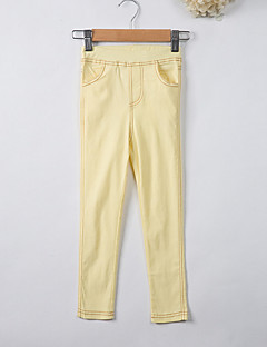 billige Bukser og leggings til piger-Pige Bukser Ensfarvet, Polyester Forår Sommer Hvid Sort Lyserød Gul Lyseblå