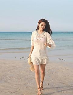 Dámské Bílá Béžová Přehozy Plavky - Pevná barva Volná záda Jedna velikost 96f7619ffe