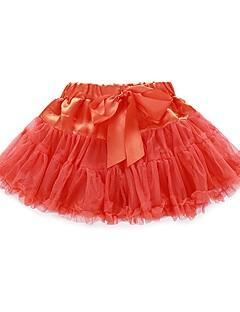billige Pigenederdele-Pige Nederdel Daglig Ferie Ensfarvet, Bomuld Polyester Forår Sommer Halvlange ærmer Sødt Rød Lyserød