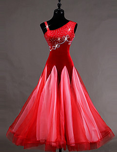 Ballroom Dance Dresses Women S Training Velvet Georgette Corduroy Crystals Rhinestones Sleeveless High Dress