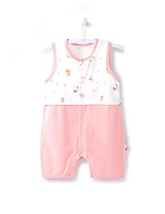 billige Babytøj-Baby Unisex En del Daglig Strand Trykt mønster, Bomuld Sommer Uden ærmer Afslappet Aktiv Blå Lyserød