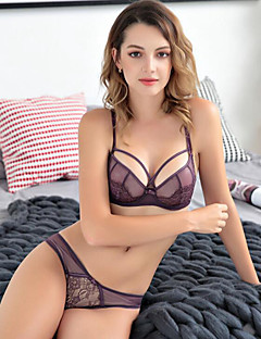 cheap Bras-Women's Normal Color Block Embroidered 3/4 Cup Boy shorts Panties Underwire Bra Push-up