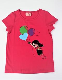billige Pigetoppe-Pige T-shirt Daglig Trykt mønster Farveblok, Bomuld Sommer Kortærmet Sødt Aktiv Grøn Rosa