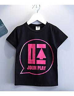 billige Overdele til drenge-Drenge T-shirt Daglig Skole Ensfarvet Trykt mønster, Bomuld Forår Sommer Kortærmet Simple Afslappet Sort