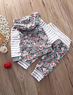 billige Babytøj-Baby Pige Tøjsæt Daglig Stribet Blomstret, Bomuld Spandex Forår Langærmet Afslappet Aktiv Hvid