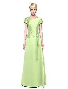 tanie Zielony szyk-Krój A W serek Sięgająca podłoża Satyna Sukienka dla druhny z Kwiat / Plisy przez LAN TING BRIDE®