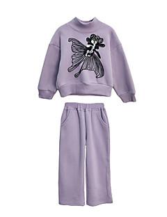 billige Tøjsæt til piger-Pige Tøjsæt Daglig Ferie Geometrisk, Polyester Forår Langærmet Vintage Lyseblå