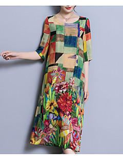 cheap Women's Dresses-Women's Chinoiserie Loose Dress - Color Block U Neck