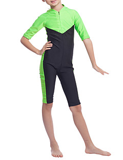 cheap Girls' Swimwear-Girls' Boho Color Block Swimwear, Polyester Nylon Spandex Half Sleeves Green Orange