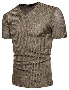 levne -Pánské - Jednobarevné Tričko, Flitry Bavlna Do V
