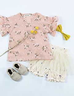 tanie Odzież dla dziewczynek-Dla dziewczynek Codzienny Kwiaty T-shirt, Bawełna Len Włókno bambusowe Akryl Wiosna Krótki rękaw Vintage White Blushing Pink