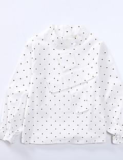 billige Pigetoppe-Pige Skjorte Daglig Prikker Trykt mønster, Bomuld Forår Efterår Langærmet Simple Sødt Hvid