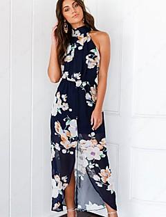 baratos Vestidos de Festa-Mulheres Chifon Vestido - Estampado, Floral