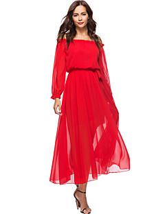 Χαμηλού Κόστους Art of Transparency-Γυναικεία Παραλία Μπόχο Φανάρι μανίκι Φαρδιά Σιφόν Swing Φόρεμα - Μονόχρωμο, Με Βολάν Μακρύ Ψηλή Μέση Στράπλες