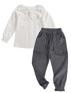 billige Tøjsæt til piger-Pige Tøjsæt Daglig Ensfarvet, Bomuld Polyester Forår Langærmet Vintage Hvid