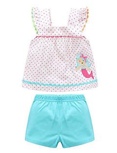 billige Sett med babyklær-Baby Pige Tøjsæt Daglig Geometrisk, Polyester Forår Uden ærmer Afslappet Gul Lyseblå