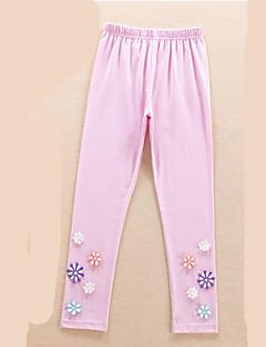 billige Bukser og leggings til piger-Pige Bukser Daglig Blomstret, Polyester Forår Langærmet Simple Navyblå Grå Lilla Gul Lyseblå
