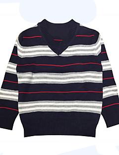billige Sweaters og cardigans til drenge-Drenge Trøje og cardigan Daglig Ferie Stribet, Bomuld Forår Langærmet Simple Sort