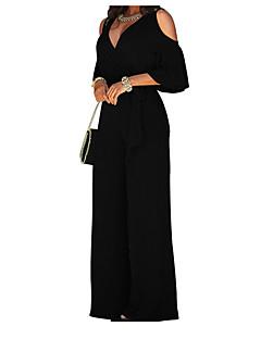 tanie Kombinezony damskie-Damskie Bawełna Kombinezon - Jendolity kolor, Wycięcia Z odsłoniętymi ramionami Spodnie szerokie nogawki / Wiosna / Z wycięciem