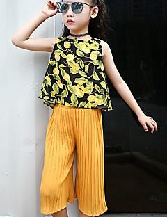 billige Tøjsæt til piger-Pige Tøjsæt Daglig Trykt mønster, Specielle lædertyper Sommer Uden ærmer Aktiv Hvid Sort