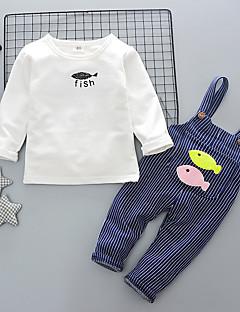 billige Tøjsæt til drenge-Unisex Tøjsæt Daglig I-byen-tøj Ensfarvet Stribet Jacquard Vævning, Bomuld Forår Efterår Langærmet Sødt Navyblå Grå