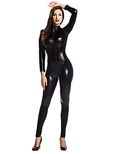 billige Zentai-Zentai Drakter Ninja Zentai Cosplay-kostymer Svart Ensfarget Zentai Spandex Lim Herre Dame Halloween Maskerade