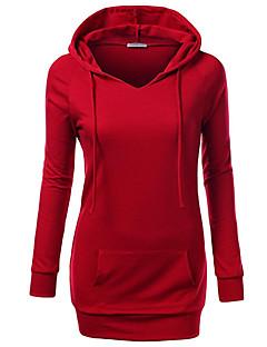 tanie Damskie bluzy z kapturem-Damskie Aktywny Bawełna Szczupła Spodnie - Solidne kolory Czerwony / Wiosna / Jesień