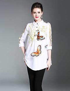 お買い得  レディーストップス-女性用 プリント シャツ シャツカラー ソリッド アニマルプリント
