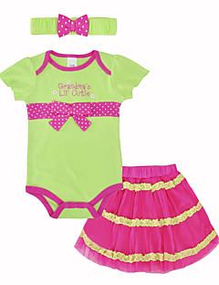 billige Sett med babyklær-Baby Pige Tøjsæt Daglig Ferie Trykt mønster, Bomuld Sommer Kortærmet Sødt Grøn