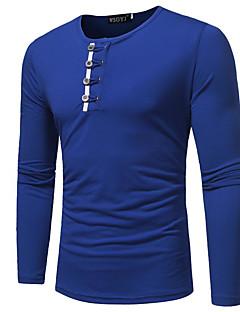 billiga Herröverdelar-Geometrisk Bomull T-shirt Herr Rund hals / Långärmad