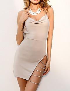 tanie Sukienki-Damskie Bawełna Bodycon Sukienka - Jendolity kolor, Plisy Do kolan