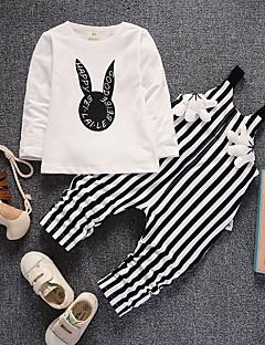 billige Tøjsæt til drenge-Unisex Tøjsæt Daglig I-byen-tøj Ensfarvet Ruder Jacquard Vævning, Bomuld Forår Efterår Langærmet Sødt Hvid Rød